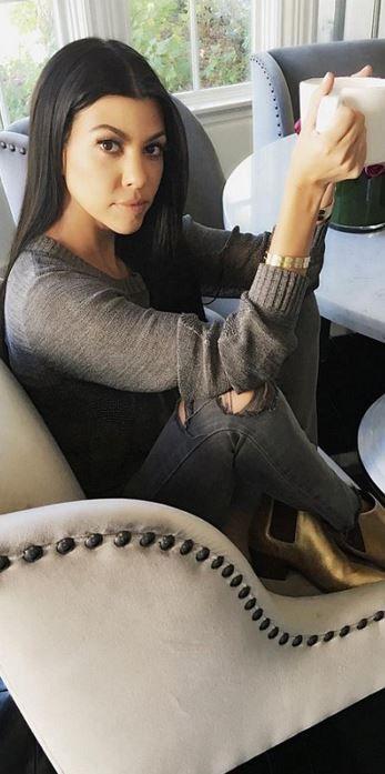 Kourtney Kardashian: Bracelet – Cartier  Jeans – J Brand  Shoes – Saint La…