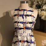LK Bennett Silk Multi-Color Dress Size 4 LK Bennett Silk Midi white, orange, blu...