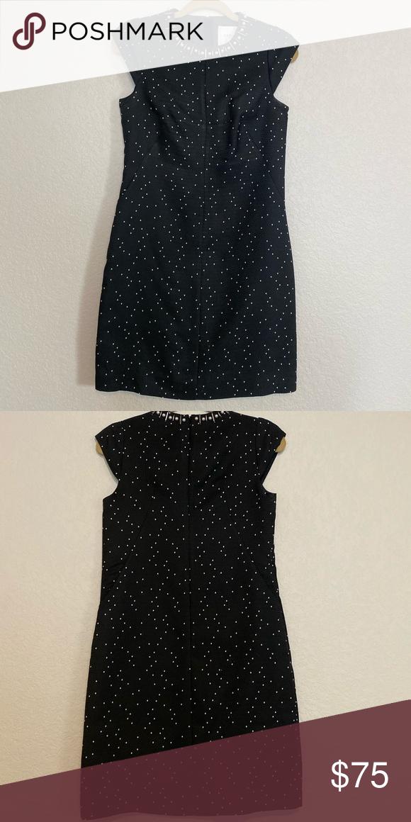 LK Bennett shift dress LK Bennett black polka dot shift dress with pearl lined c…
