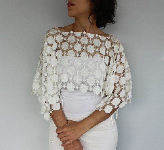 Lace Bridal Tunic Shrug Bolero Shabby Chic Cape. Handmade and Unique Design