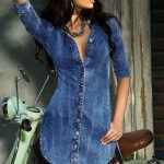 Lace Trim Button Down Denim Shirt Dress