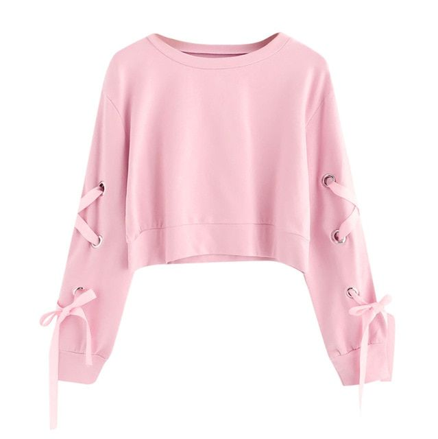 Lace Up Solid Autumn Sweatshirts Casual Long Sleeve Hooded Pullover Sweatshirts Crop Top Hooded Jumper Sportswear Size S Color A