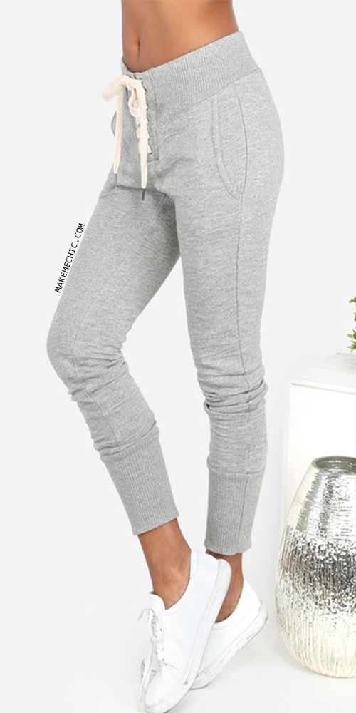 Lace Up Sweatpants GREY   MakeMeChic.COM