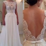 Lace wedding dress, low back prom dresses, chiffon prom dresses, sexy prom dresses