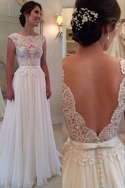 Lace wedding dress, low back prom dresses, chiffon prom dresses, sexy prom dresses