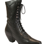 Ladies Leather Victorian Boot - Black