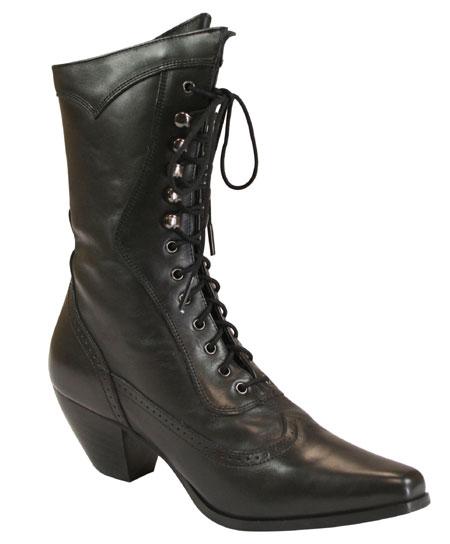 Ladies Leather Victorian Boot – Black