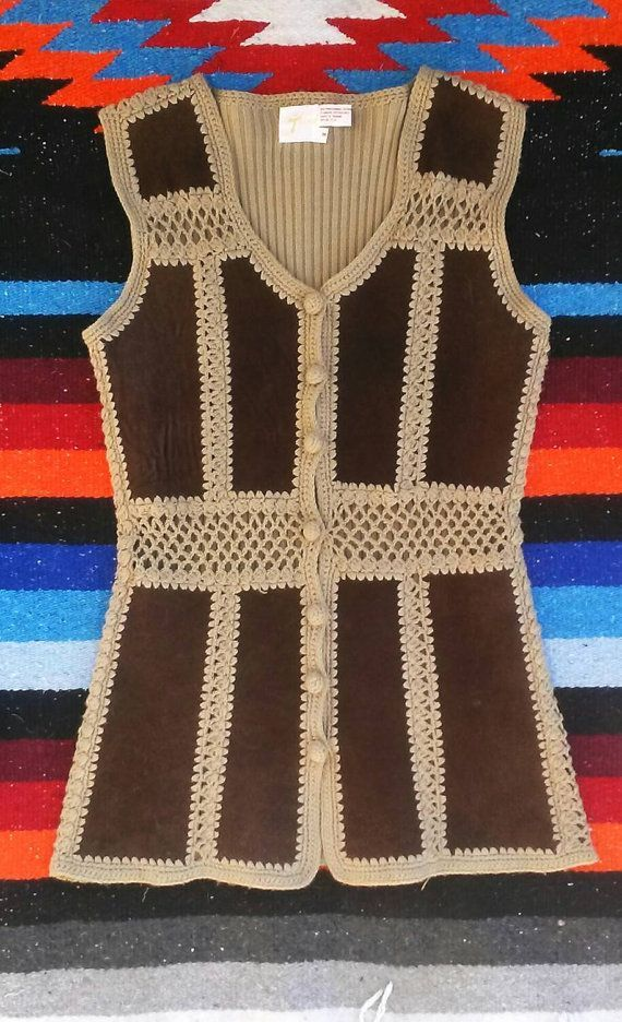 Ladies Vintage Crochet and Cable Knit Vest Stunning vintage women's vest perfect…