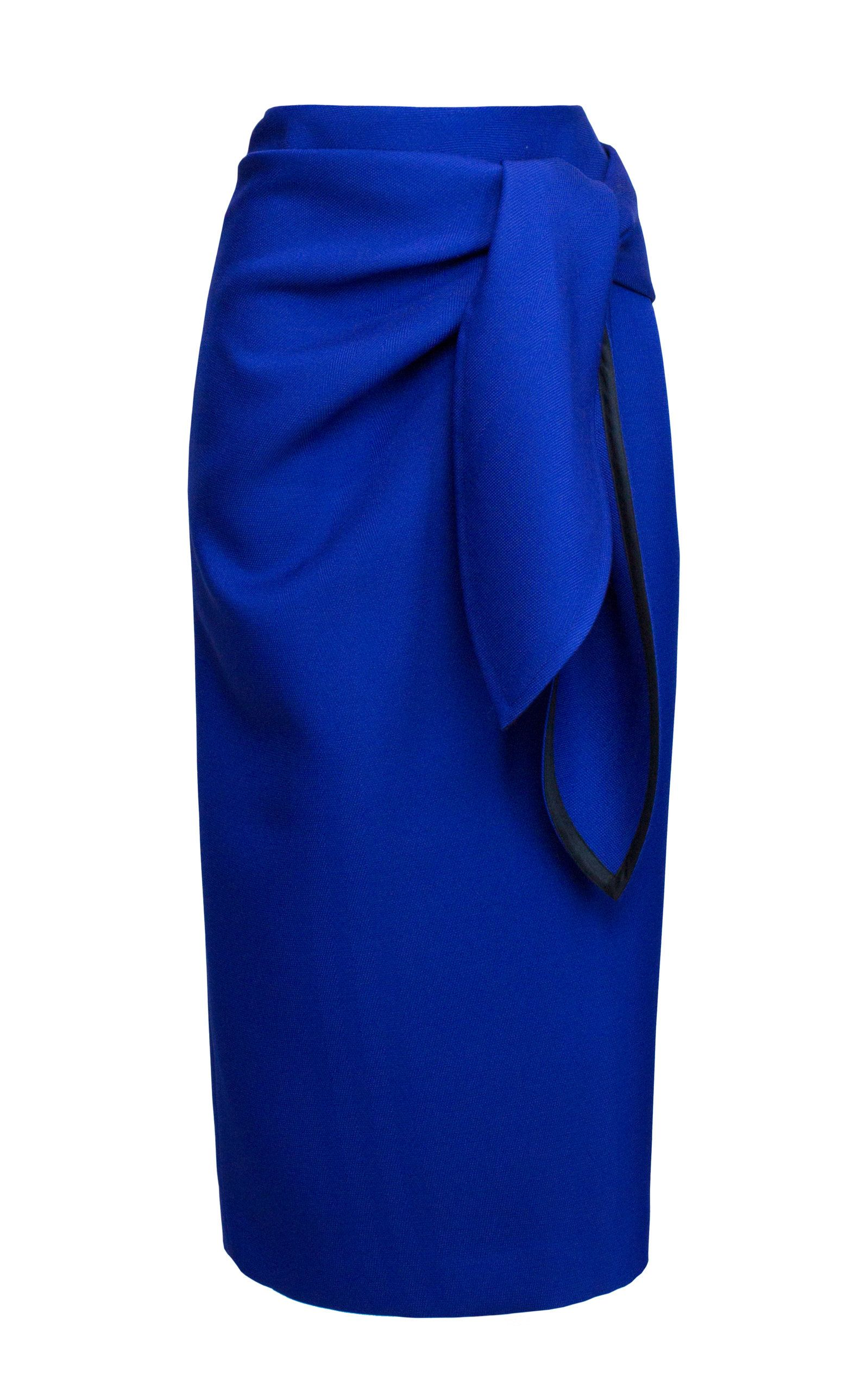 Lake Studio Tie-Front Wrap-Effect Twill Midi Pencil Skirt Size: 46