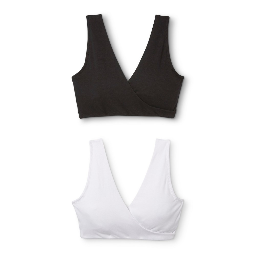 Lamaze Women's 2pk Nursing Soft Sleep Bra – Black/White XL