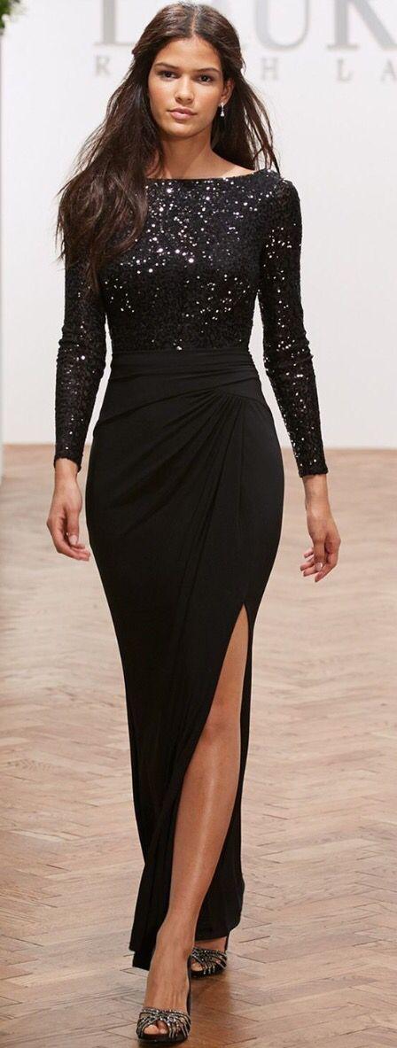 Lauren Ralph Lauren Long-Sleeve Sequined Gown