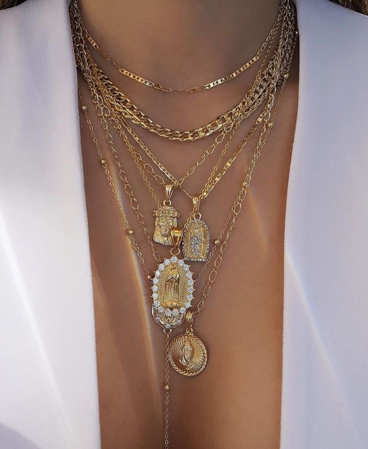 Layered Gold Pendant Necklace With Cross & Icon Chains