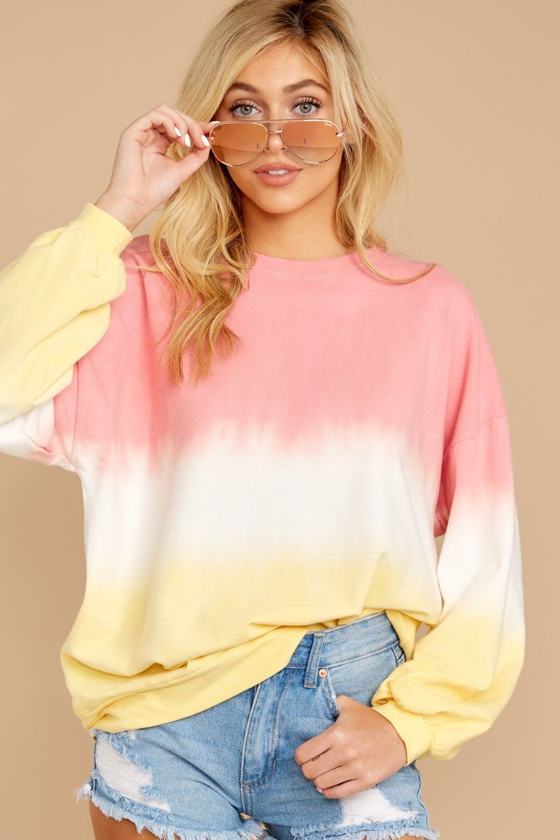 Lazy Tides Pink And Yellow Dip Dye Long Sleeve Tee