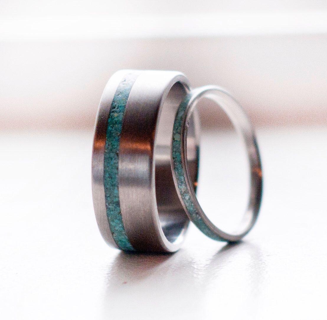Le «vertige»-ensemble assorti de 14K or & turquoise anneaux-dessins de Staghead