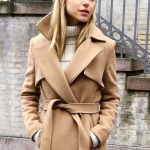 Le Fashion Blog Winter Style Wool Camel Belted Trench Coat Ribbed Cream Turtlene...