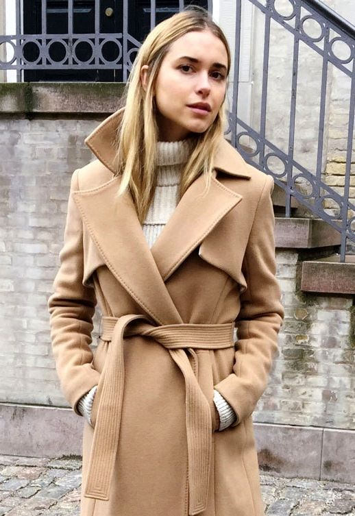 Le Fashion Blog Winter Style Wool Camel Belted Trench Coat Ribbed Cream Turtlene…
