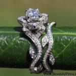 Leaf Eternity WEDDING BAND no Milgrain - Flower - Diamond - Vine - Right Hand Ring - 14K white gold - fL07