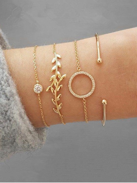 Leaf Shape Rhinestone Bracelets Set