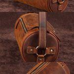 Leather Mens Barrel Shoulder Bag Vintage Brown Travel Bag for men