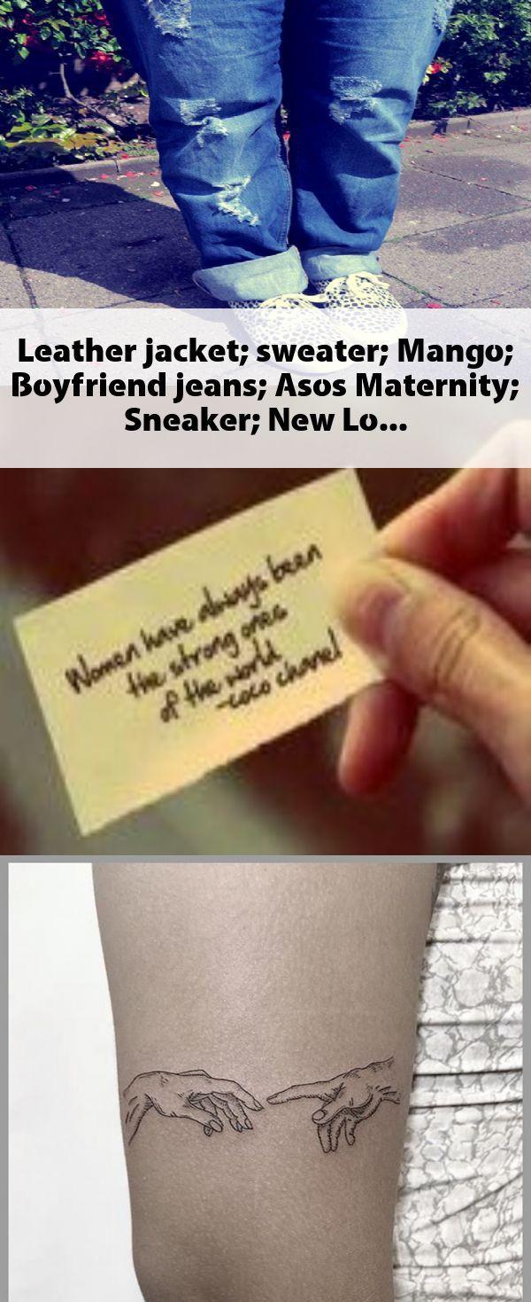 Leather jacket; sweater; Mango; Boyfriend jeans; Asos Maternity; Sneaker; New Lo…