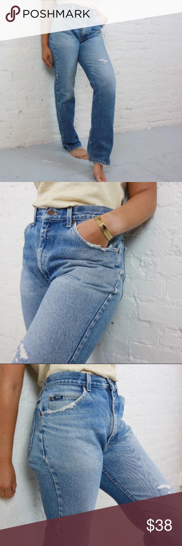 "Lee Distressed Denim Jean Distressed Ripped Jeans Waist 17"" | Hips 19"" | Wai…"