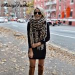 Leopard Pattern Women Winter Blanket Scarf Warm Soft Cashmere Thicken Tassel Poncho Foulard