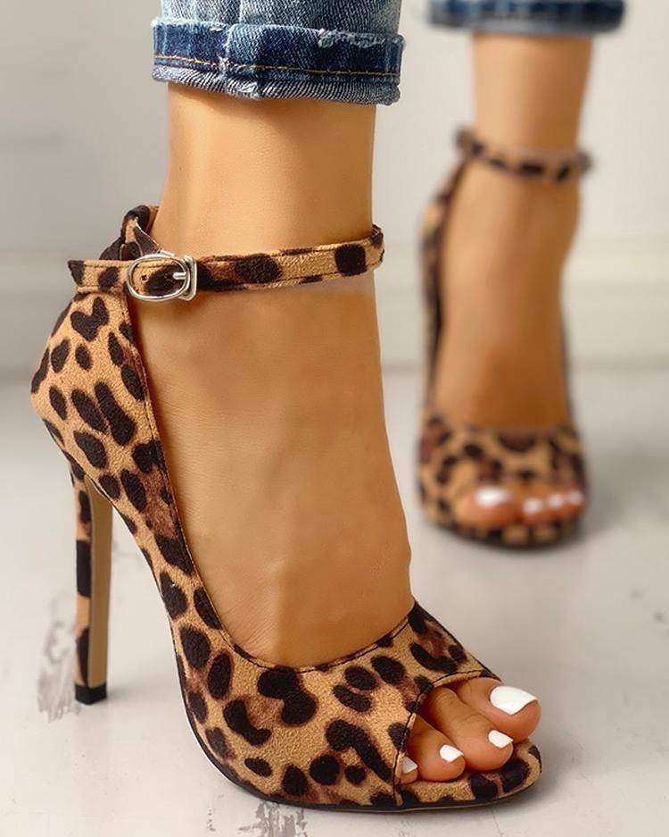 Leopard Print Peep Toe Ankle Strap Sandal