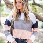 Let's Get Together Peach Multicolored Colorblock Sweater - Let's Get Together Peach Multicolored Colorblock Sweater