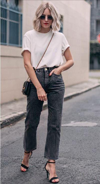 Letter Pattern Boyfriend Jeans