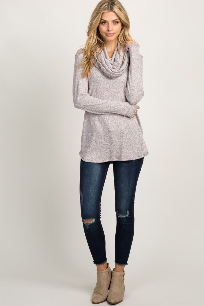 Light Pink Heather Cowl Neck Knit Top