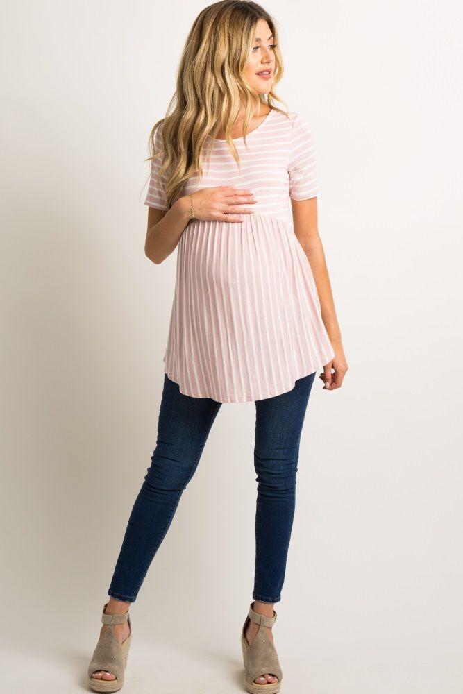 Light Pink Striped Crisscross Back Peplum Maternity Top