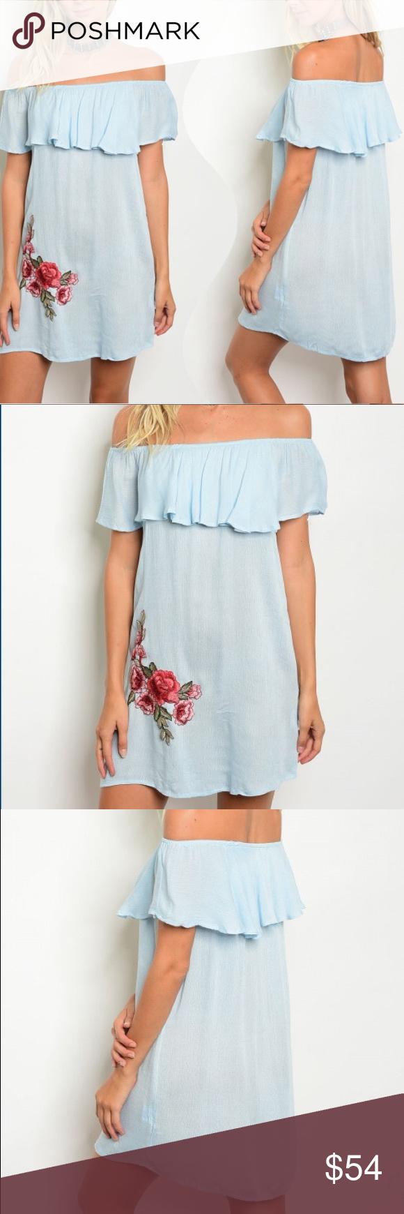 Light blue breezy offshoulder embroidered dress Light blue breezy off shoulder …