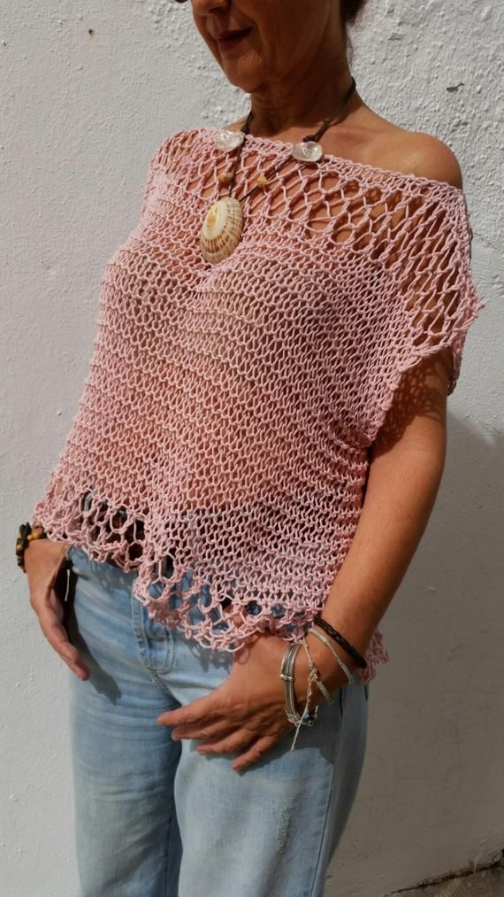 Light pink sweater for women, cotton pink pullover, women sweater in blush, beach cover up, loose knit sweater, top tank