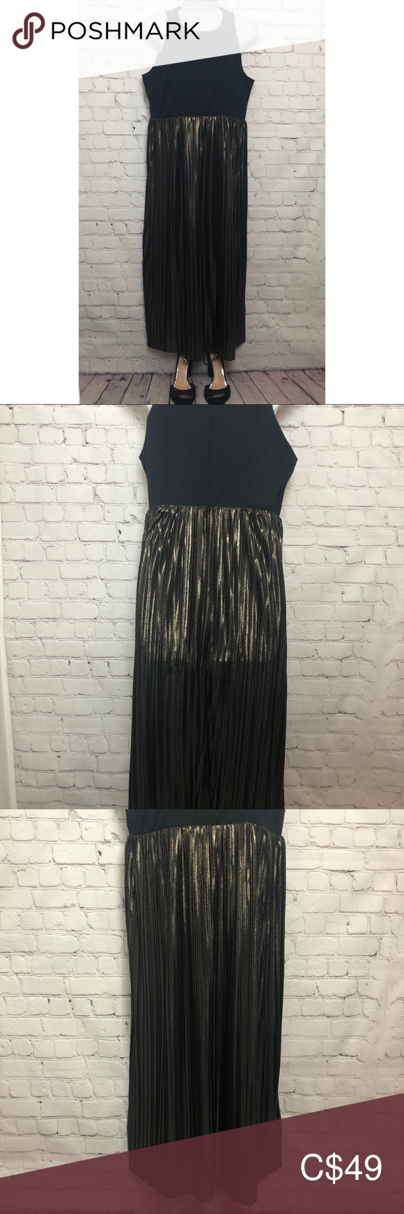 Like New: GAP Black & Metallic Gold Pleated Dress