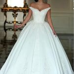 Lilybridalshop Fabulous Satin Off-the-shoulder Neckline Ball Gown Wedding Dresses With Beaded Lace Appliques