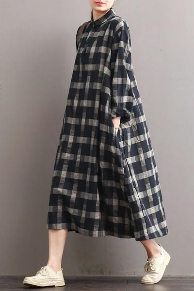 Linen Plaid Casual Loose Shirt Dress,Winter Long Shirt for Women Q7811