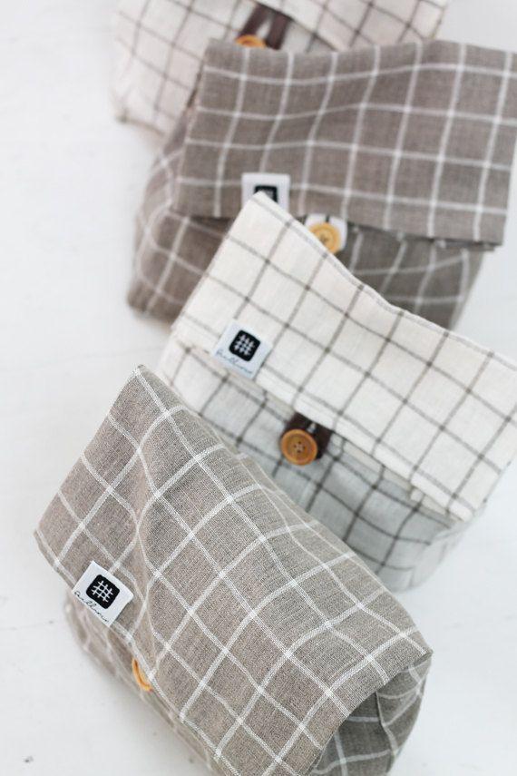 Linen lunch bag for women, linen lunch bag, adult lunch bag, linen fabric storage basket, linen small bag