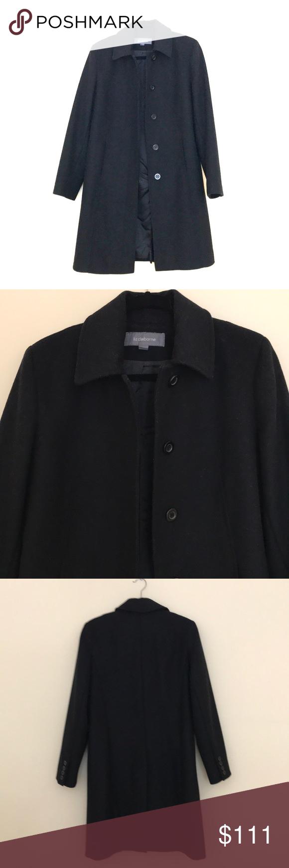 Liz Claiborne black pea coat size 8 P Black button up pea coat by Liz Claiborne….