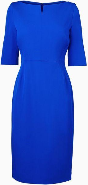 Lk Bennett Tan Fitted Dress in Blue (Cobalt) – Lyst