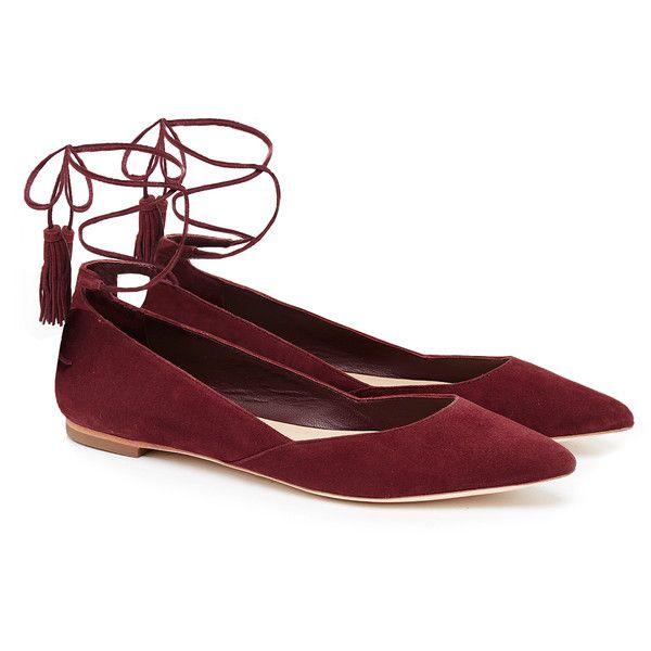Loeffler Randall Penelope Red Suede Tassel Tie Flats ($175) ❤ liked on Polyvor…