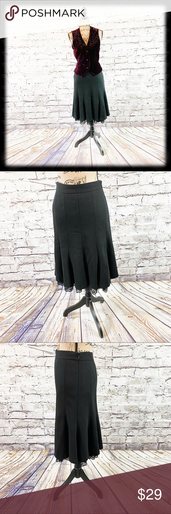 Loft Pleated Wool Skirt with Peekaboo Lace Really pretty 100% wool skirt by Loft…