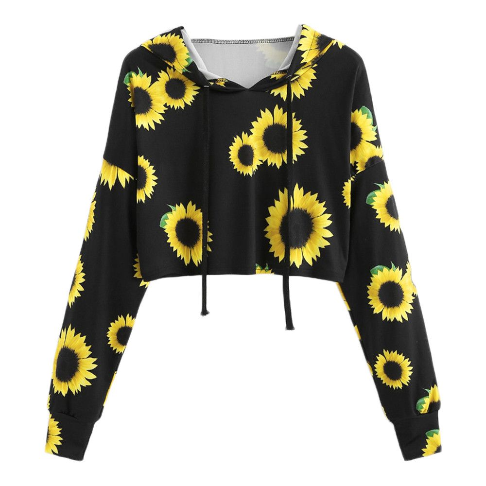 Long Sleeve Sunflower Printing Hooded Sweatshirt Blouse Tops Women Winter Hoodie #Xqx