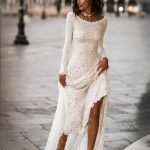Long Sleeve Wedding Dress, Lace Long Sleeves, Boho Wedding Dress, Lace Wedding Dress, Low Back Wedding Dress, Scoop Back Dress - Jade Dress