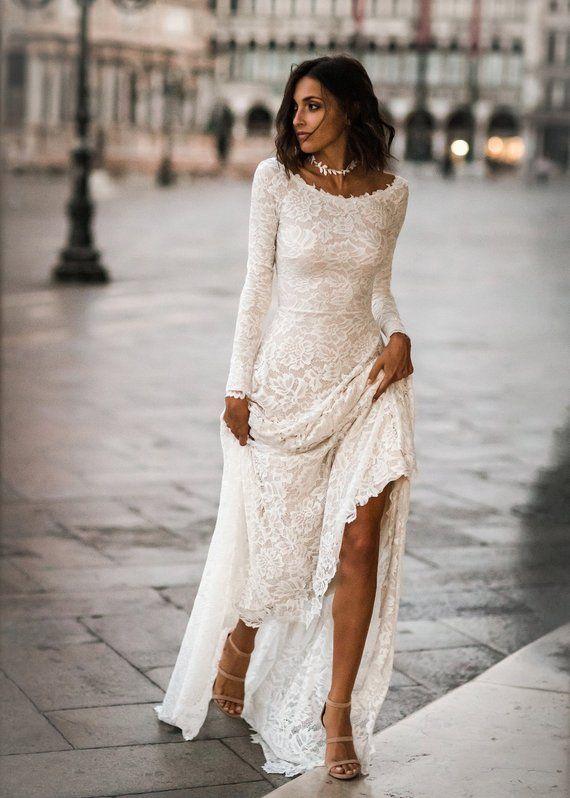 Long Sleeve Wedding Dress, Lace Long Sleeves, Boho Wedding Dress, Lace Wedding Dress, Low Back Wedding Dress, Scoop Back Dress – Jade Dress