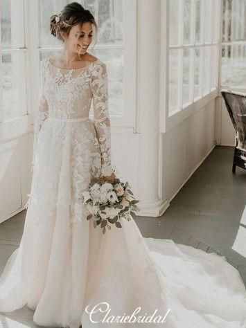 Long Sleeves A-line Lace Tulle Country Wedding Dresses