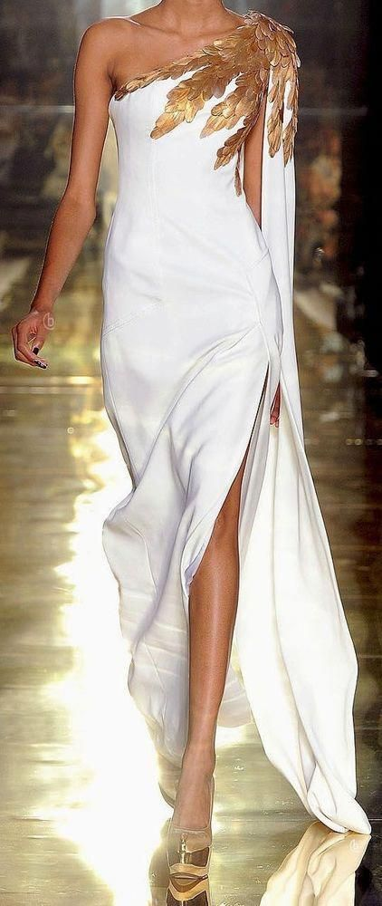 Long white dress with gold accessories,evening dress,chic party dress