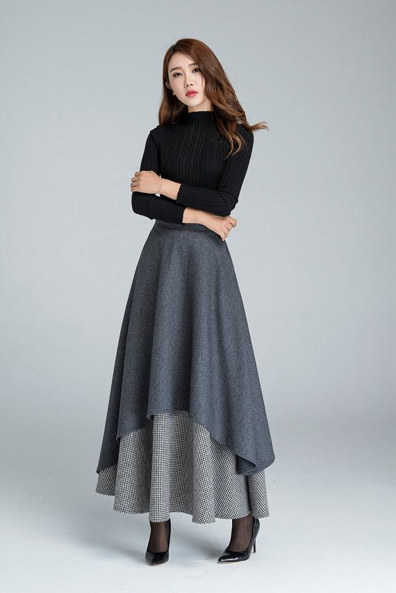 Long wool skirt, Dark grey skirt, gray wool skirt, warm winter skirt, woman skirts, handmade skirt, long wool skirt, gray skirt  1625#