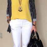 Look do dia - look de trabalho - moda corporativa - calça branca - blusa amarel...