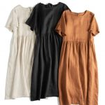 Loose Pure Color Linen Maxi Dresses Women Summer Casual Outfits Q17065