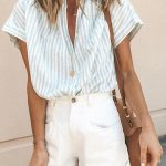 Loose Women Turn down Collar Stripe Summer Blouses